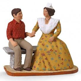 Couple Vincent Mireille sur le banc